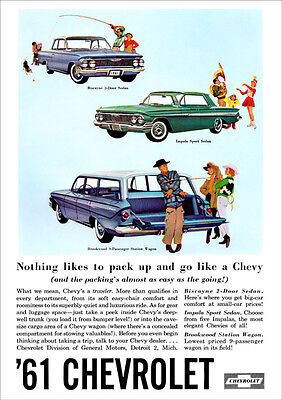 Chevrolet 61 Brookwood Wagon & Biscayne Retro A3 Poster Print From Advert 61