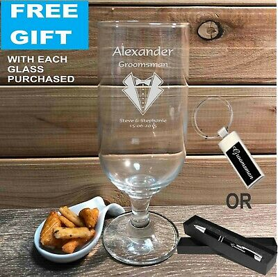 Personalised Engraved 340ml Footed Beer Glass Wedding Favour Bomboniere Gifts