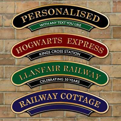 Vintage Arched Railway Train Sign,Personalised AnyText,Traditional Station Totem