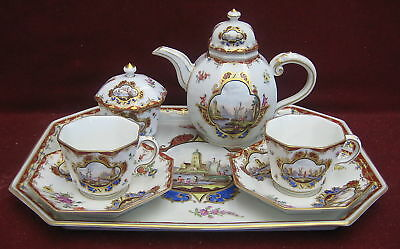 Circa 1757 Chelsea English 7 Piece Porcelain Tea Set   MAGNIFICENT