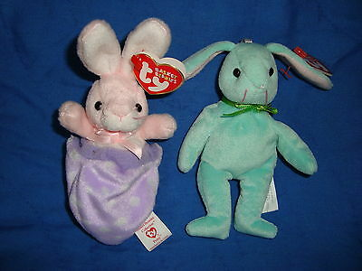 TY Basket Beanies Plush Easter Bunny ornaments lot 2 pcs Hippity & Petey