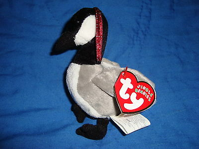 TY Jingle Beanies Goose Loosy Christmas ornament 4""