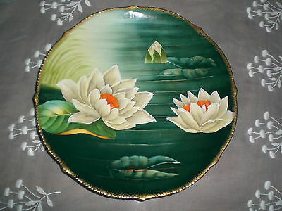 ANTIQUE TIRCHENREUTH BAVARIAN SIGNED ZKRANN PLATE HAND PAINTED WATER LILIES