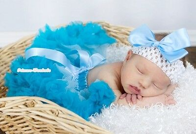 Light Blue Peacock Blue Infant Newborn Baby Pettiskirt Girl Dress 3PC Set 3-12M