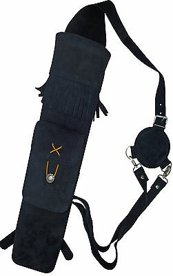 Soft Black Suede Back Side Quiver With front Pocket Archery Products AQ -118A.