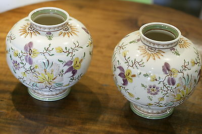 "Wonderful Vintage Pair Gouda Gekleurd Delfts Floral 8"" Tall Vases Holland Exc"
