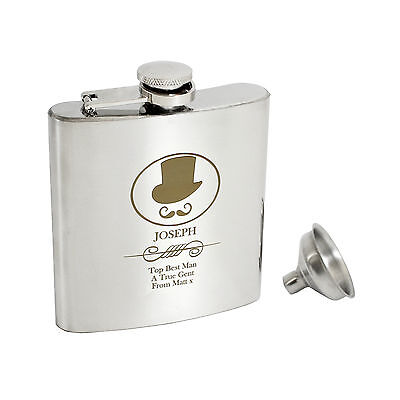 Personalised Top Hat 6oz Hip Flask, Gift Box - Engraved Free - Wedding, Birthday