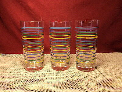 Set of 3 Glass Tumblers Multicolor Stripes