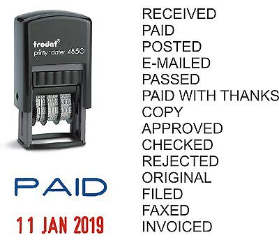 PAID RECEIVED DATE STAMP TRODAT 4850 SELF INKING RUBBER can be PERSONALISED