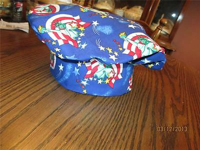 Statue of Liberty w/ American Flag in Background Chef Cook Baking Hat Adult Size