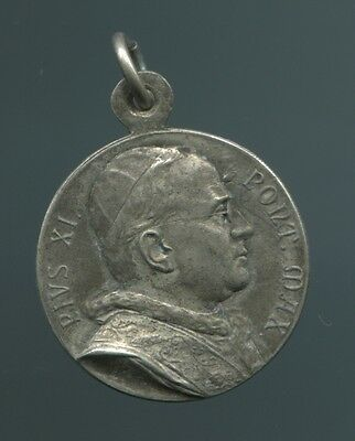 Alter Silber Anhänger Medaille Papst PIUS XI PONT.MAX (1922-1939)+Maria+Kind