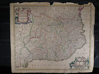 Antique Hand Colored Hand Engraved Map Circa 1650 1675 De Witt Spain