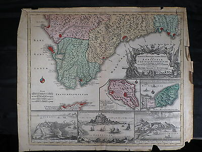 Antique Hand Colored/Hand Engraved Map Circa 1700 Matthew Seatteri Map of Spain