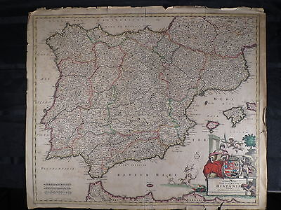 Antique Hand Colored Hand Engraved Map Circa 1650's 1650 Frederick De Witt