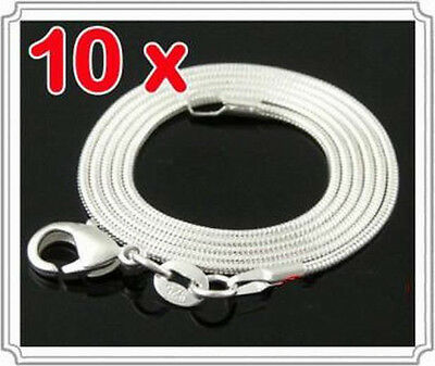 10pc 925Sterling Silver Jewelry Snake Bone Chain Women Men Necklace 1-4MM C008