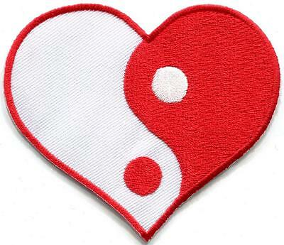 Yin yang heart tao taoism peace trance boho hippie applique iron-on patch S-963