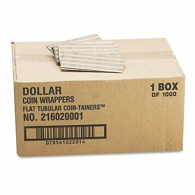 Flat-Packed Kraft Tubular Coin Wrappers, Dollar, $25.00 Cap, Dark Gray, 1000/Bx