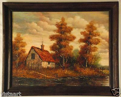 """Antique Style Vintage Cabin in Woods Oil Painting with wood Frame 25""""x31"""""""