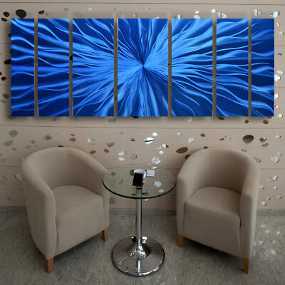 Metal Wall Sculpture Modern Abstract Art Blue Painting Contemporary Home Decor L