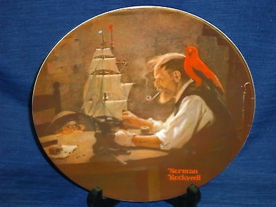 "Vintage 8.5"" KNOWLES Norman Rockwell Plate THE SHIP BUILDER 1980"