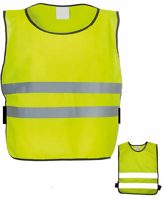 Reflective Child Safety Tabard Bib Apron Vest Hi Vis Yellow Sports Kid S M L