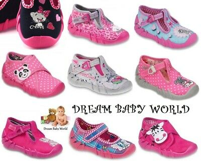 BABY BEFADO girls canvas shoes nursery slippers trainers sandals size 3 - 8UK