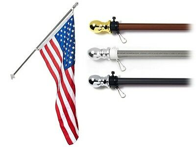 6 FT Valley Forge Flagpole Never Furl Spinning Rings & Optional US American Flag