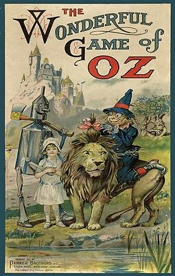 """1921 Wizard Of Oz Vintage Game Box Cover Poster Dorothy Tin Man & Lion 11""""x17""""!"""