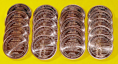 "20 New Coins "" 2nd Amendment Design "" 1 oz each .999 Fine Copper Bullion"