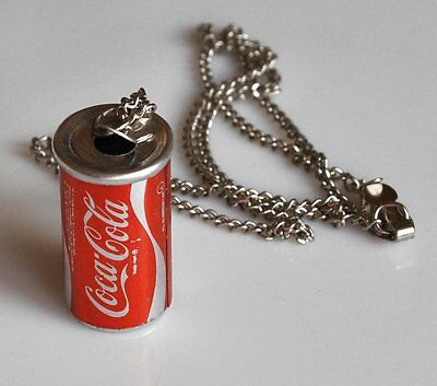 Coca Cola Halskette mit mini Dose Vintage Coke can necklace USA 1970er Kette