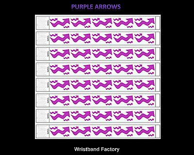 100 x Tyvek Purple Arrows Party Function Event Rave Festival Security Wristbands