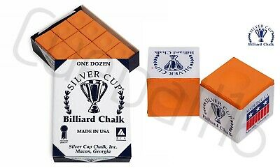 12 x ORANGE Quality - Silver Cup Snooker-Pool-Billiards Cues Tips Chalks / 1 Box