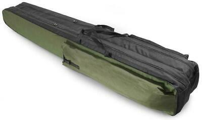 2 POCKETS 170cm FISHING HOLDALL BAG LUGGAGE for made up rods & reels GREEN BLACK