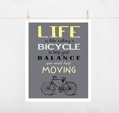 Typography Art Print on paper size A4 LIFE IS LIKE RIDING BICYCLE....