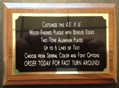 """4.5""""x6"""" Recognition Award Plaque Trophy with 2 Tone BRASS Engraved Plate"""