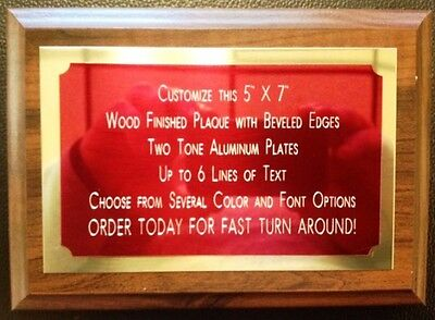 """5""""x7"""" Recognition Award Plaque Trophy with 2 Tone Aluminum Engraved Plates"""