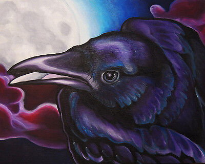 8x10 RAVEN & Moon Bird Signed Crow Art PRINT of Original Oil Painting by VERN