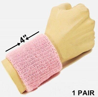2 x Pink Wrist Arm Sweatbands Tennis Badminton Sports Sweatband Wristbands Band