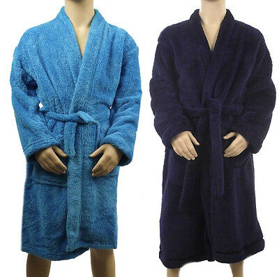 Marks & Spencer Boys Youth Blue Soft Fleece Dressing Gown M&S Bath Robe & Belt