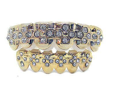 GRILLZ Gold Plated Top & Bottom CZ CROSS Hiphop bling Grill Set