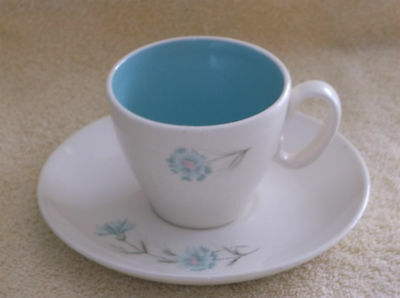 Taylor Smith Taylor Boutinniere Blue Carnation Coffee Tea Cup and Saucer Set