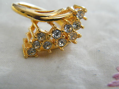 Beautiful Gold Tone Cocktail Ring Sparkling Clear Rhinestones Size 9 WOW