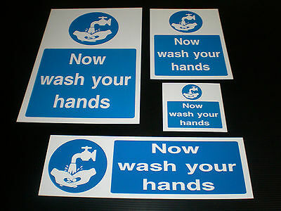 Now Wash Your Hands Food Hygiene Sign Plastic, Sticker & Holed Catering Cafe Bar