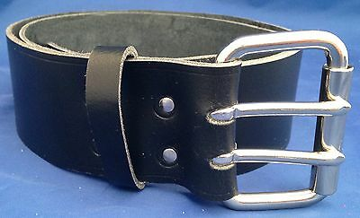 Black Leather Belt 2 Prongs 2 Inch Wide Hand Made 100% Real Leather Double Prong