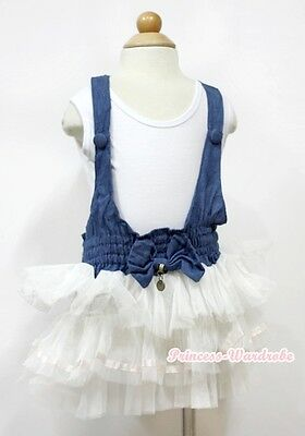 Blue Denim White 3 Layers Girl Tutu Dress With White Tank Top 2-7Year PD038