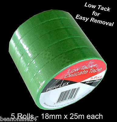 5 Pack Low Tack Masking Tape Coloured 18mm x 25 metres Green