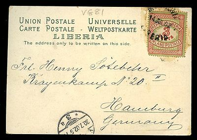 Africa LIBERIA 1902 UPU Chromo-Litho PPC mailed to Germany 3c pmkd Monrovia