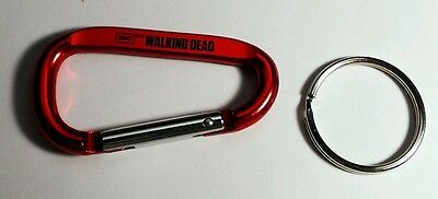 New THE WALKING DEAD AMC BLOOD RED METALLIC D RING CARABINER CLIP HOOK KEYCHAIN