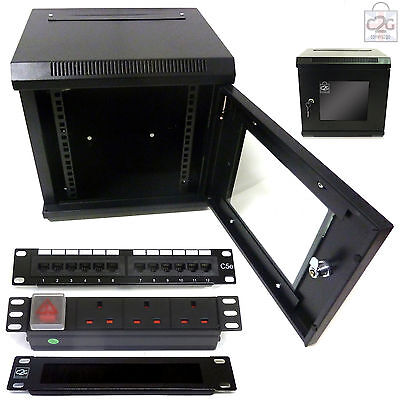 "10"" 6U 300mm Wall Cabinet + C5e Patch Panel + PDU + Brush Bar  Data Rack Network"