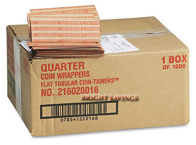 MMF Industries Heavy Duty Pop-Open Flat Paper Coin Wrappers - Quarters 1,000 ct
